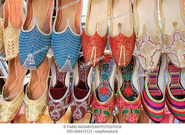 Arabian Slippers - Intricate beadwork adorn these arabian slippers seen at a market in Dubai