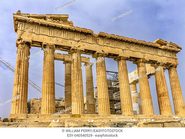 Parthenon Acropolis Athens Greece. Parthenon is Temple to Athena on the Acropolis. Temple created 438 BC and is symbol of ancient Greece