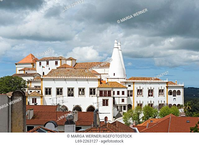 View on Sintra National Palace with unique Chimneys, Sintra, District Lisbon, Portugal, Europe