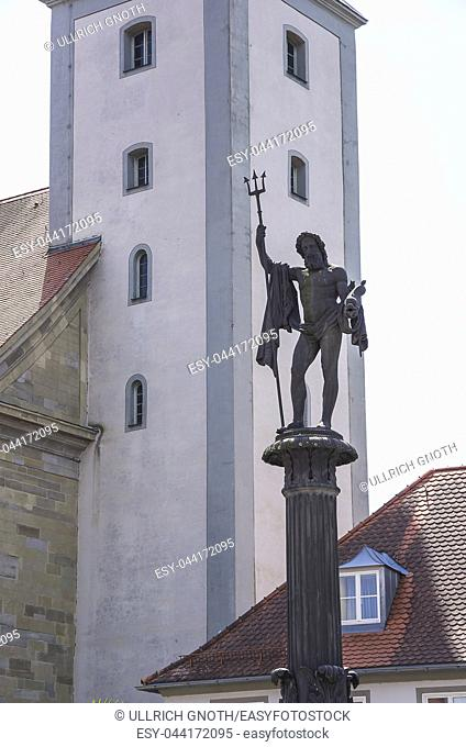 Lindau on Lake Constance, Bavaria, Germany - Neptune on the fountain of the same name in the market square. Lindau im Bodensee, Bayern