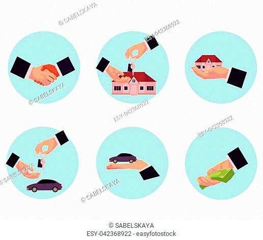 Male hand giving money, car, house, key, purchase, selling, leasing concept, cartoon vector illustration in circles on white background