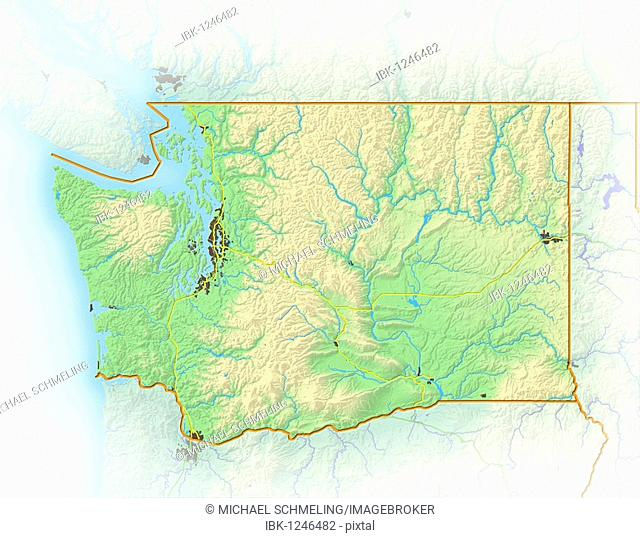 Washington, shaded relief map, USA