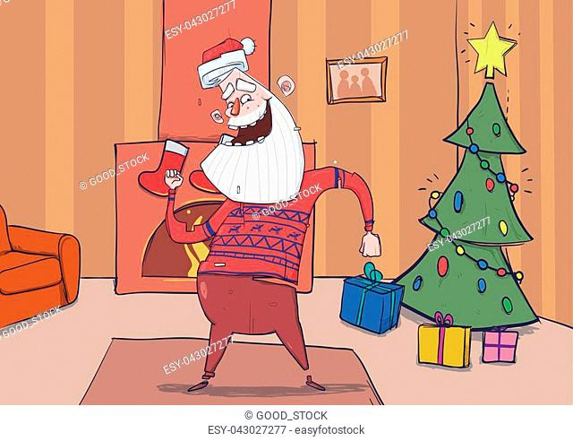 Funny Santa Claus in deer sweater smiling and dancing in decorated room with Christmas tree, stockigns and fireplace. Santa waves hands
