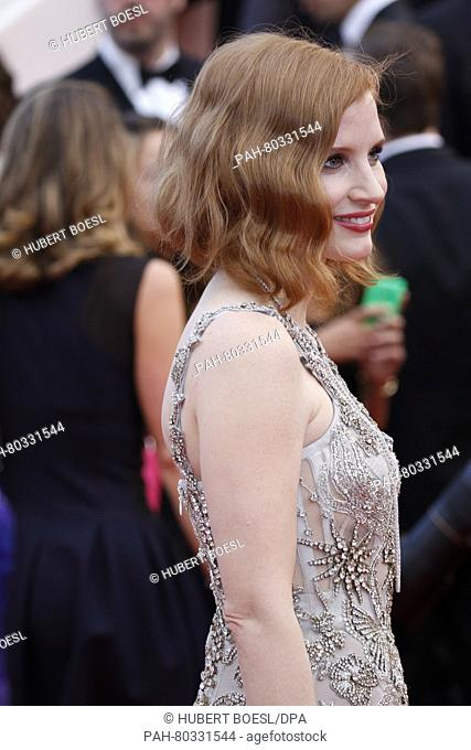 Actress Jessica Chastain attends the premiere of Money Monster during the 69th Annual Cannes Film Festival at Palais des Festivals in Cannes, France