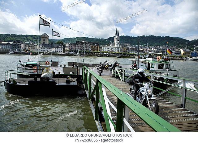 Boppard ferry to cross the Rhine river. Boppard, Rhineland Palatinate, Germany