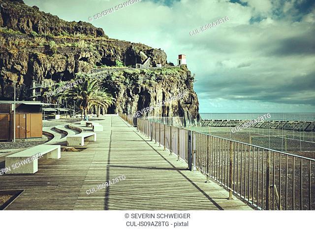 Promenade and cliffs, Madeira, Ribeira Brava, Portugal