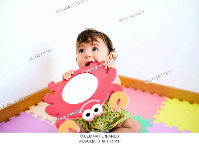 Cute baby girl biting a foam crab toy