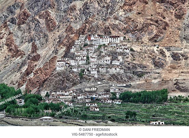 The historic Karsha Gompa (Karsha Monastery) located on a mountainside in the village of Karsha in the Zanskar Valley in Ladakh, Jammu and Kashmir, India