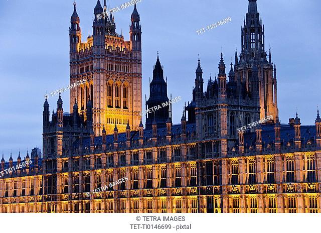 United Kingdom, London, Houses of Parliament illuminated at dusk