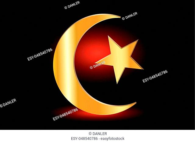 Muslim symbol ,Islam Symbol ,Crescent and Star, icon of Islam on a red background