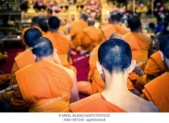 Buddhism monks  Wat Pho temple  Bangkok, Thailand