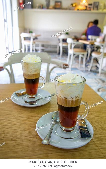 Two Irish coffees in a cafe. Madrid, Spain
