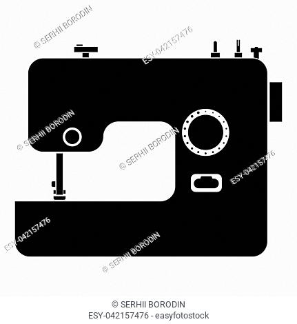 Sewing machine icon black color vector illustration flat style simple image