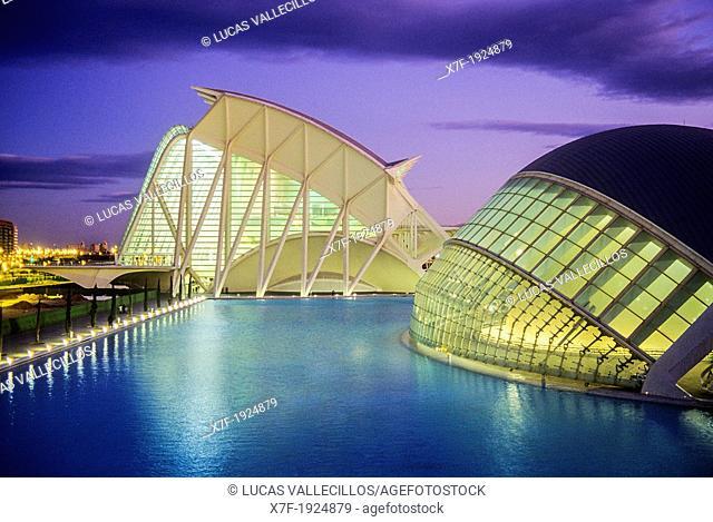 The Hemisferic and the Príncipe Felipe Sciences Museum,City of Arts and Sciences, by S  Calatrava  Valencia  Spain