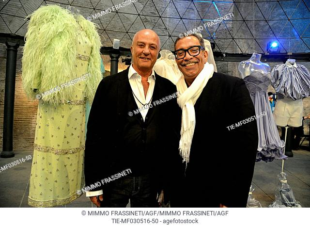 Creations of high fashion inspired by water, Stefano Dominella and Guillermo Mariotto , Rome, ITALY-03-05-2016