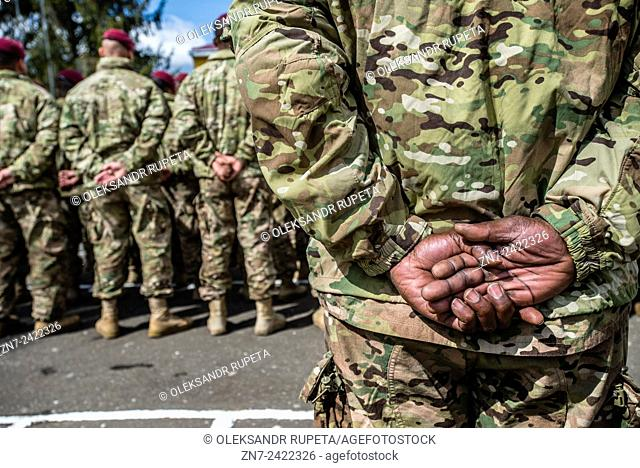 US soldiers during opening ceremony Ukrainian-US Exercise Fearless Guardian at International peacekeeping and security centre, Yavoriv, Lviv region, Ukraine