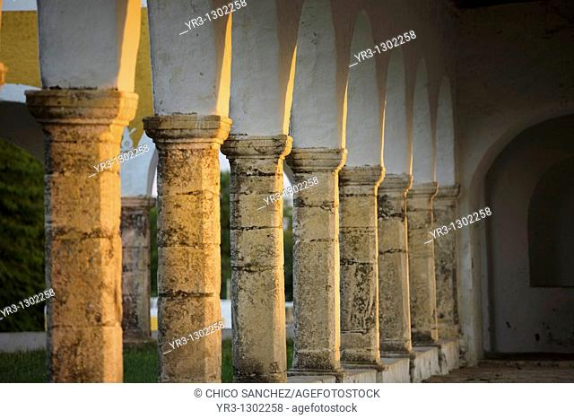 Columns at the San Antonio de Padua convent in Izamal village on Mexico's Yucatan peninsula, June 26, 2009