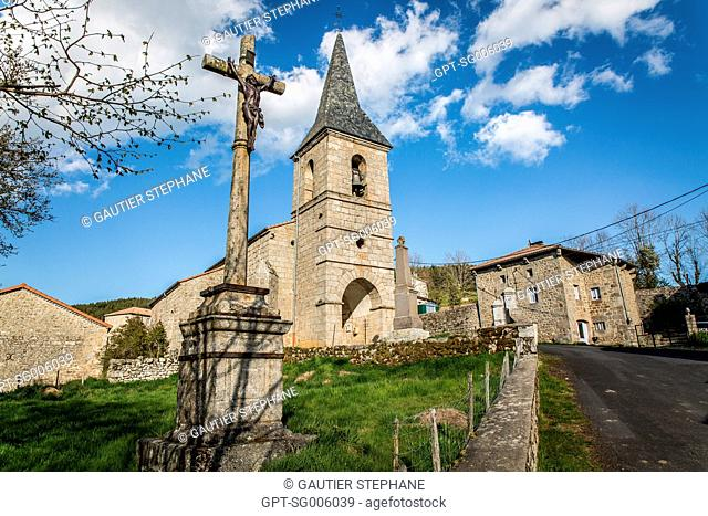 VILLAGE OF JEAN CHASTEL WHO KILLED THE MAN-EATER OF GEVAUDAN ON JUNE 19, 1767, LA BESSEYRE SAINT MARY (43), HAUTE LOIRE, AUVERGNE RHONE ALPES REGION, FRANCE