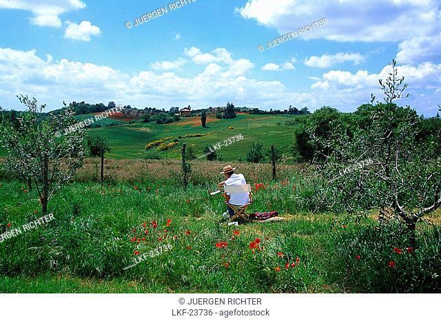 Landscapist, landscape near Montepulciano, Tuscany, Italy