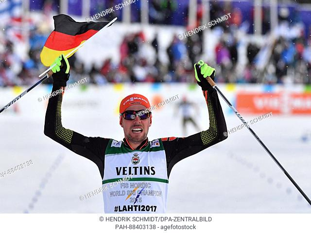 Johannes Rydzek (1st Place) celebrates his victory after the single combination event normal hill/10 km during the FIS Nordic World Ski Championships 2017 in...