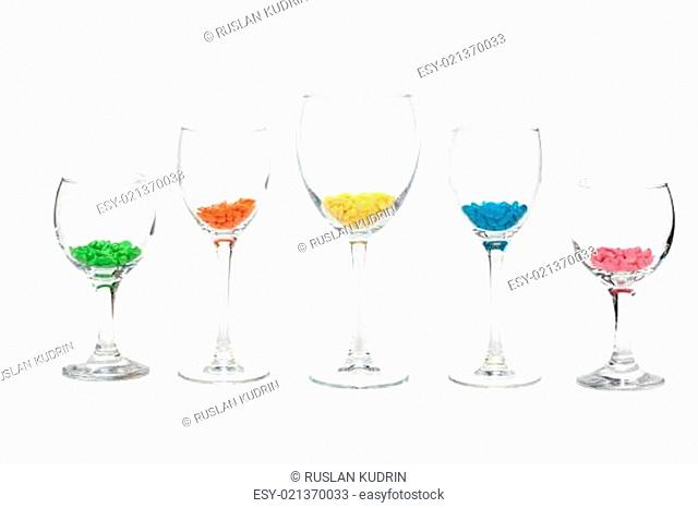Glasses with colour sweetmeat