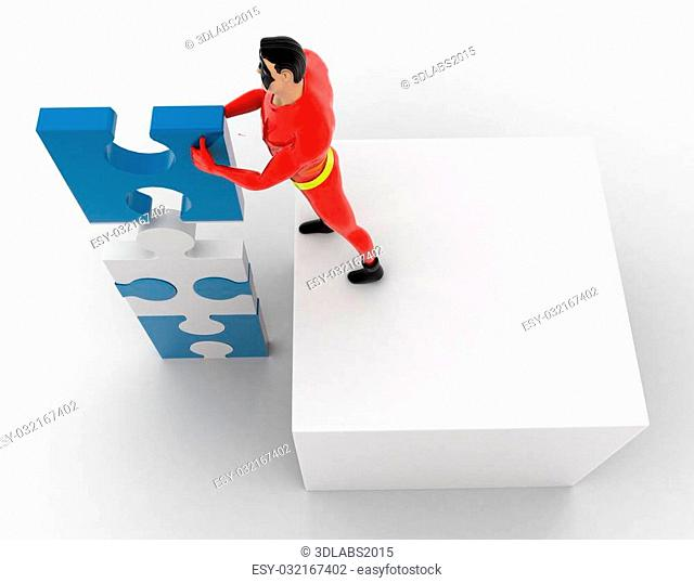 3d superhero making tall construction from puzzle pieces concept on white background, top angle view