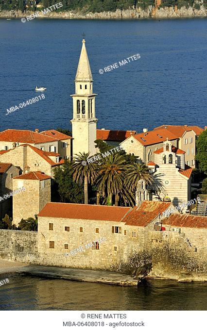 Montenegro, Adriatic coast, old town of Budva