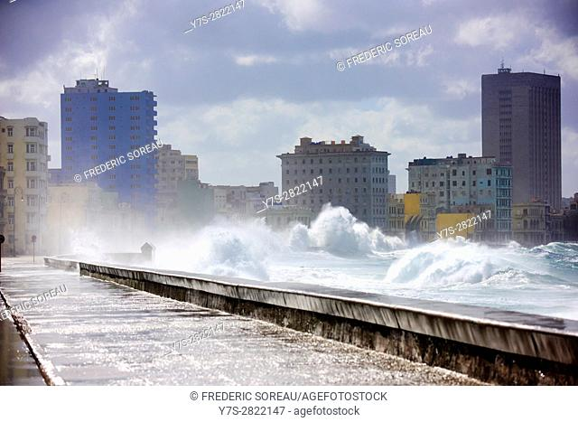 Wave breaking over the wall of the Malecon, Havana, Cuba