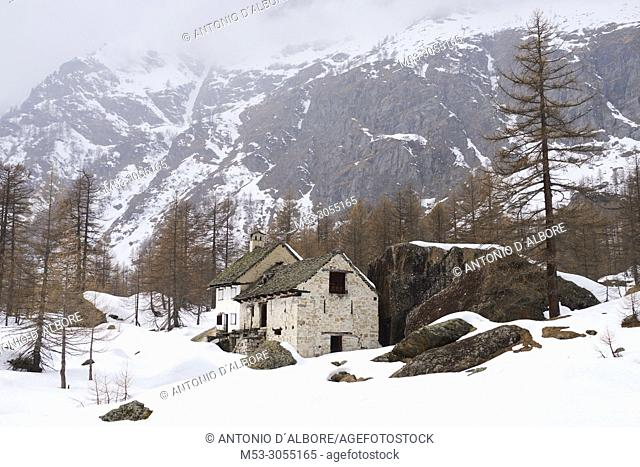 Derelict house with attached barn in the mountain village of Crampiolo. Baceno Municipality. Province of Verbano-Cusio-Ossola. Piemonte. Italy