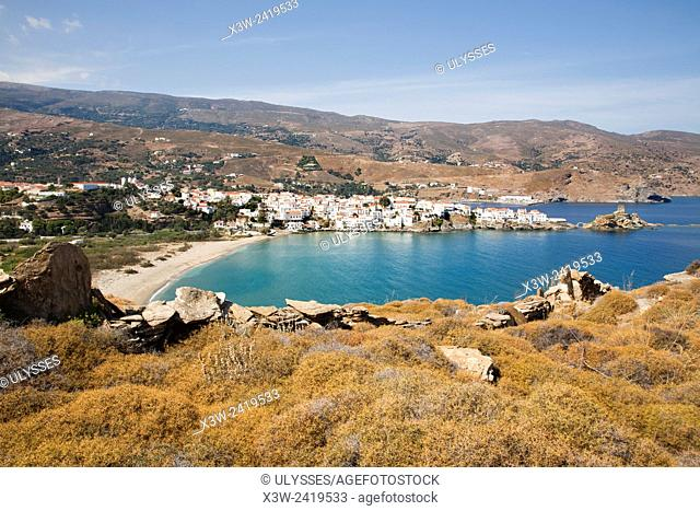 bay and view of Chora village, Andros island, Cyclades islands, Aegean sea, Greece, Europe