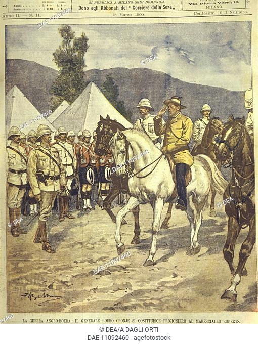 Anglo-Zulu and Anglo-Boer Wars (1850-1902) - General Cronje surrenders to Marshal Roberts. Cover illustration from La Domenica del Corriere