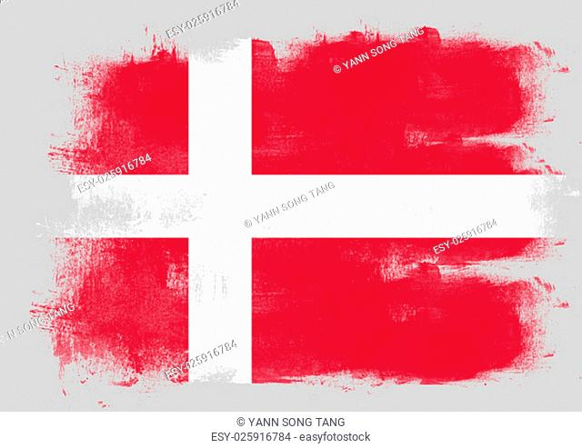 Flag of Denmark painted with brush on solid background