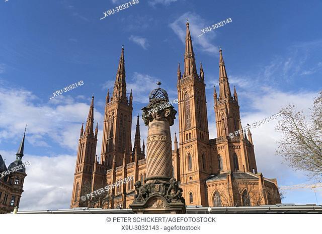 market column and Protestant Marktkirche church, Wiesbaden, Hesse, Germany