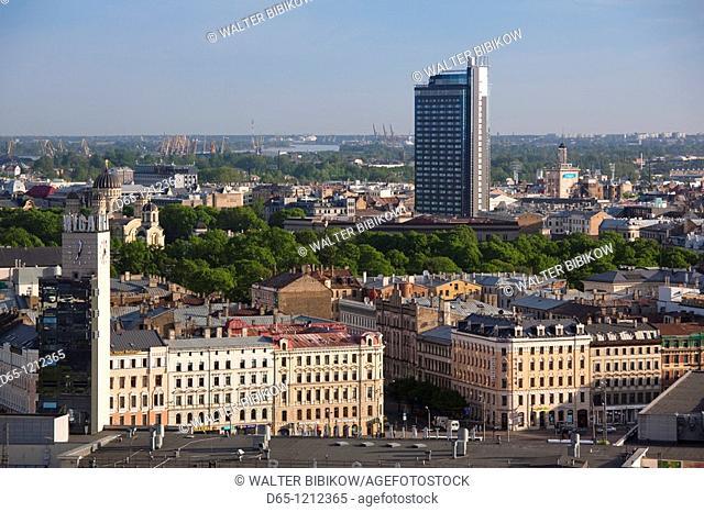 Latvia, Riga, Vecriga, Old Riga, elevated city view towards Hotel Latvija, from Academy of Sciences building, morning