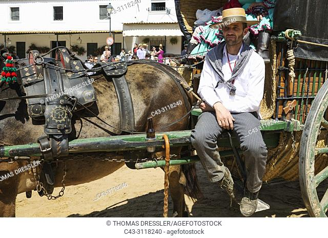 Pilgrim at his decorated carriage during the annual Pentecost pilgrimage of El Rocio. Huelva province, Andalusia, Spain