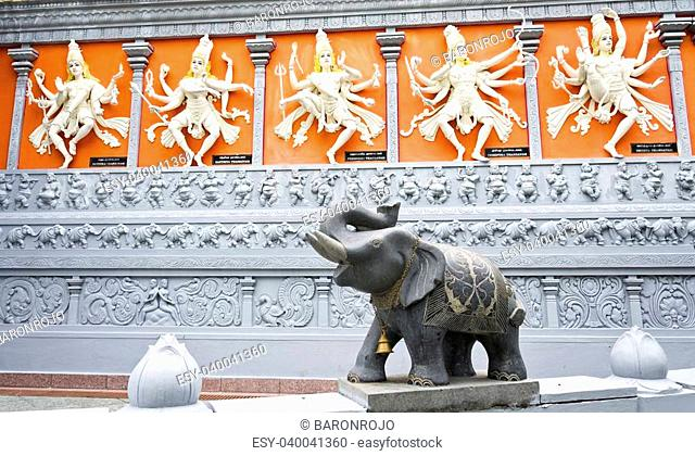 Five Hindi Gods and Elephant with Bell and Chain