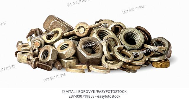 Pile of old fasteners isolated on white background