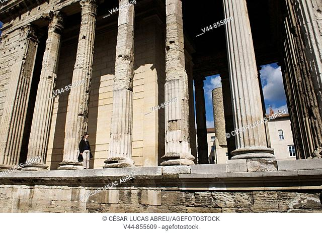 Roman temple of Augustus and Livia in Place Degaulle, Vienne. Rhône-Alpes, France