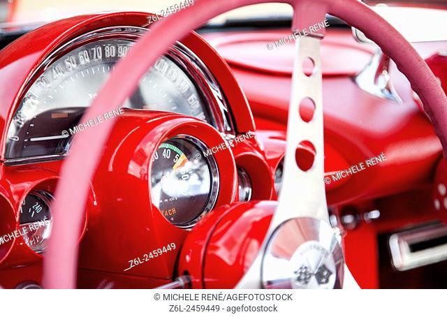Red Corvette antique interior at 12 Hours of Sebring Car race in Sebring Florida