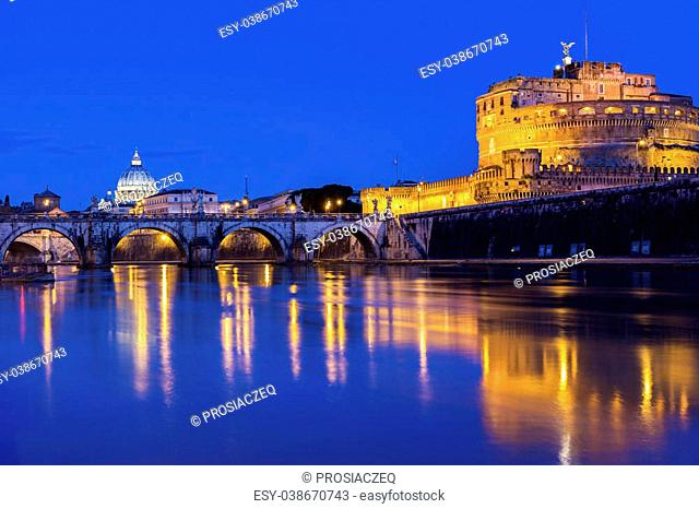View on St. Peter's Basilica and Castel Sant'Angelo in Rome in Italy