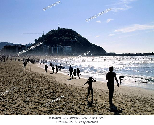 La Zurriola Beach in Donostia - San Sebastian, Basque Country, Spain