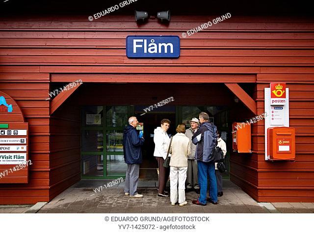 Flam Railway Station Flåmsbana Flåm, Aurlandsfjord, Aurland, Sogn og Fjordane, Norway