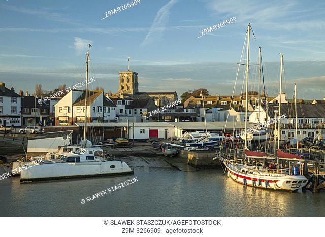 Sunset on river Adur in Shoreham-by-Sea, West Sussex, England