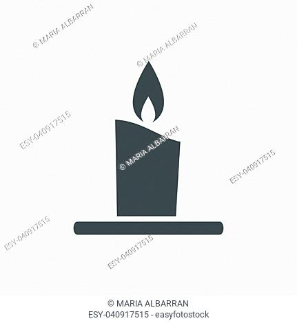 Wax candle icon on a white background. Vector illustration
