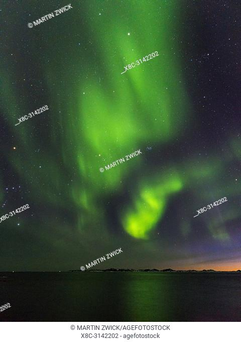 Northern lights over the colonial harbour . Nuuk, the capital of Greenland. America, North America, Greenland