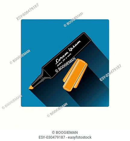 Orange marker with cap, with long shadow, flat design, vector