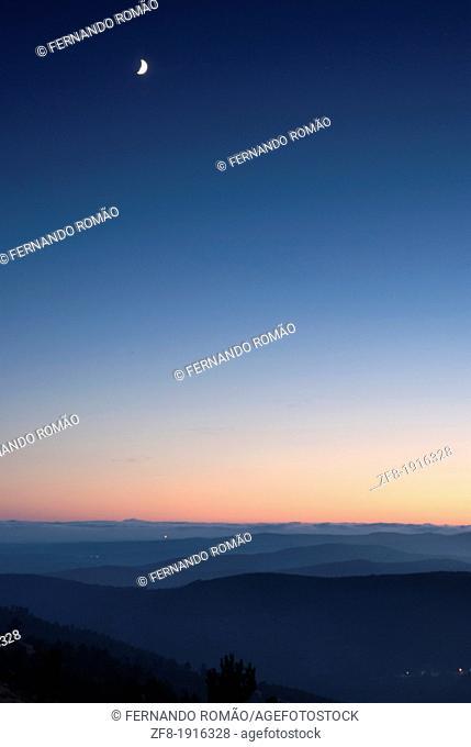Dusk over the mountain landscape, at Pampilhosa da Serra, Portugal