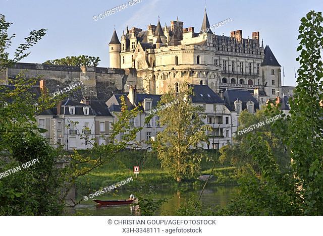 Chateau d'Amboise on the Loire River at Amboise, Touraine, department of Indre-et-Loire, Centre-Val de Loire region, France, Europe