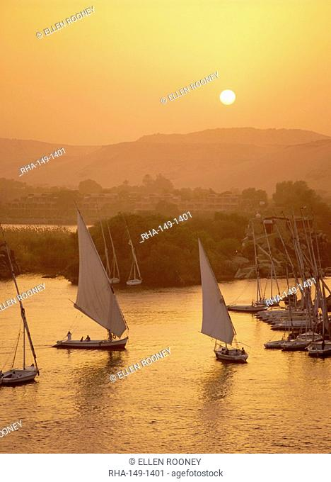 Feluccas on the Nile River at sunset, Aswan, Egypt, North Africa, Africa