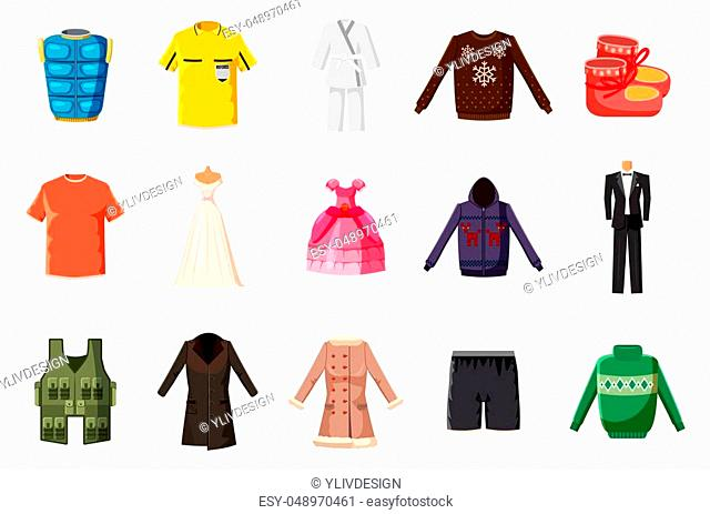 Clothes icon set. Cartoon set of clothes icons for web design isolated on white background
